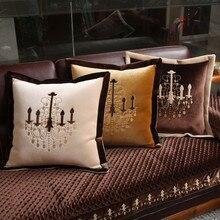 Роскошный вышитый хрустальный светильник, чехлы для подушек, супер мягкие чехлы для стульев, европейские Благородные Золотые бежевые кофейные подушки для дома