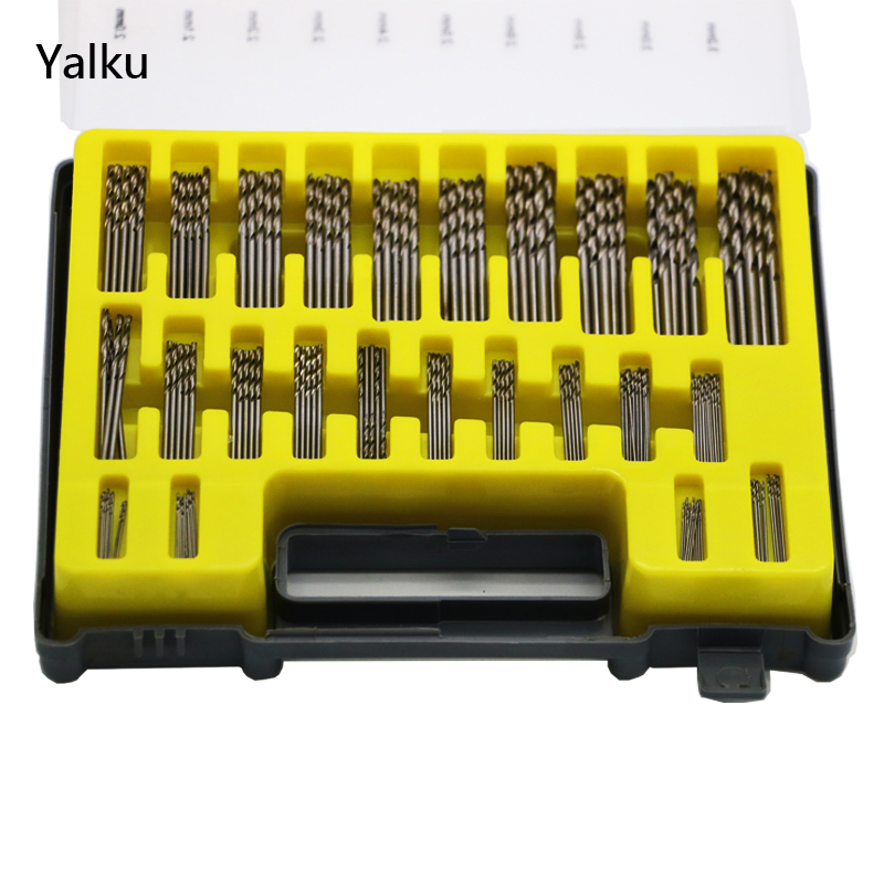 Yalku 150PCS Mini Twist Drill Bit Power Tools HSS Metal Drilling ToolBox Drill Bit Set Micro Twist Bit Kit High Speed Steel 19pcs hss titanium twist drill bit set high speed steel straight round shank 1 10mm durable power tools for metal drilling