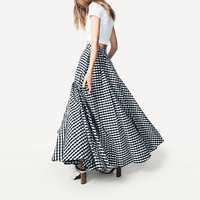 WBCTW Autumn Winter Skirts 9XL 10XL Plus Size England Style Long Pleated Women Skirts High Waist Maxi Warm Plaid Office