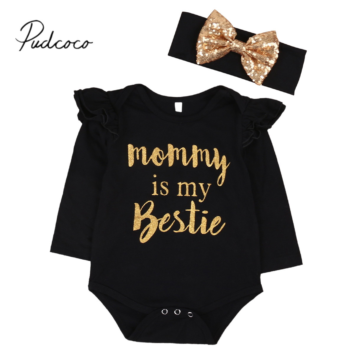 2018 Marke Neue Newborn Lässige Kleinkind Baby Mädchen Jungen Baumwolle Langarm Schwarz Body Stirnband 2 StÜcke Overall Mama Ist Mein Bestie