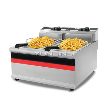 Commercial Double-tank Electric Deep Fryer Stainless Steel Elctric Frying Machine Commercial Fryer IDZL-904 multifunction 12 l deep fryer electric commercial stainless steel potato chicken food deep frying machine zf