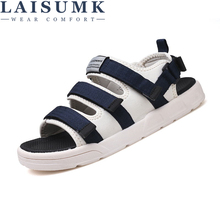 LAISUMK Men Fashion Sandals New Hook-Loop Casual Shoes Comfortable Light Flats Zapatos