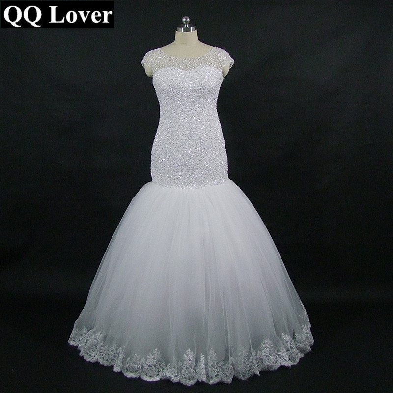 QQ Lover 2019 New Mermaid Wedding Dress African Full Beading Short Sleeve Wedding Gown