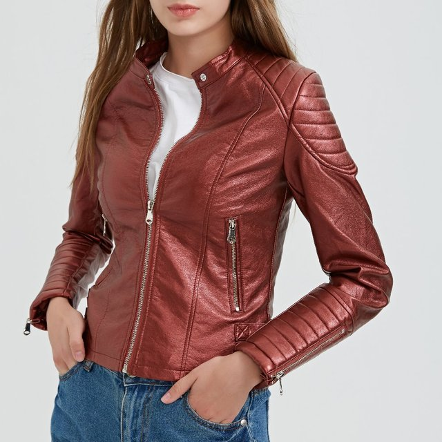 2018 New Fashion Women Wine Red Faux Leather Jackets Lady Bomber