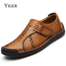 YIGER NEW Man Loafers Genuine Leather mens Casual shoes British  leather High Quality Outdoor Breathable Shoes 0025