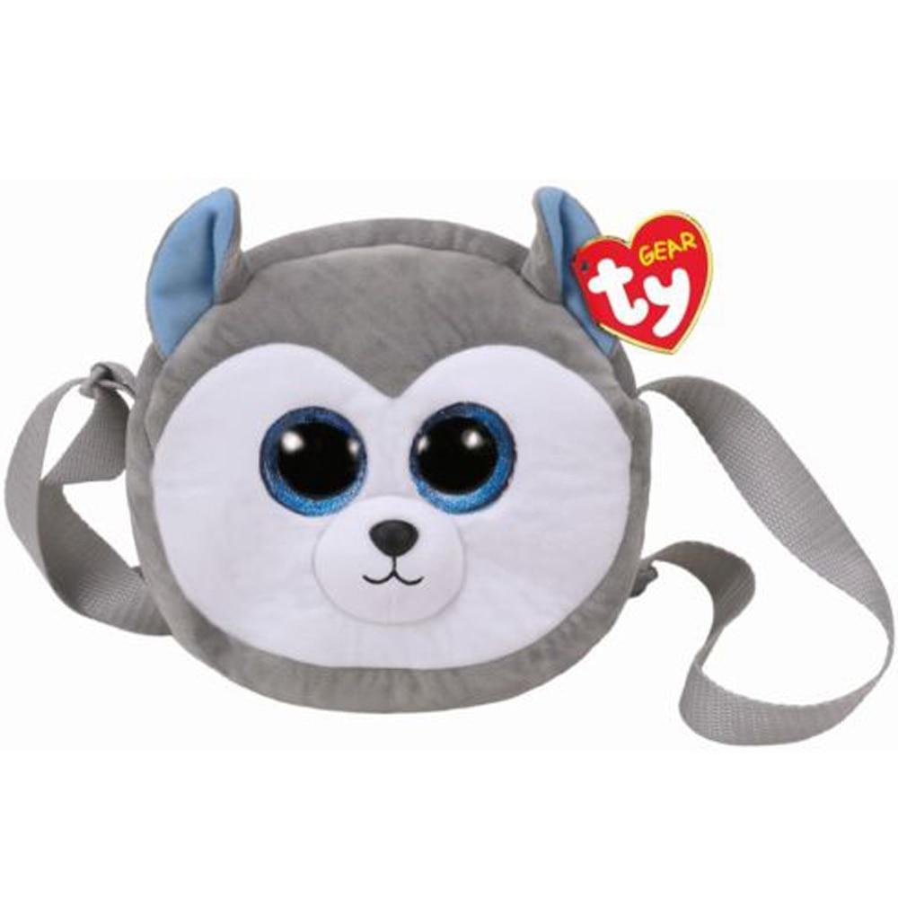 Pyoopeo Ty Gear 7 18cm Slush the Husky Shoulder Bag Plush Big-eyed Stuffed Animal Collection Doll Toy Bag with Heart Tag