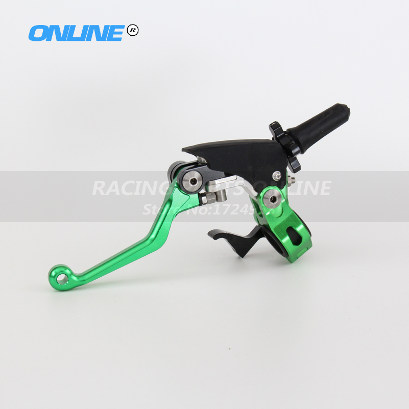 CNC Billet Pivot Foldable Clutch Lever Perch For Kawasaki KX65 85 125 250 500 250F 450F KLX450R 150 250 Motocross Enduro Green cnc pivot brake clutch lever for kawasaki kx65 kx85 kx125 kx250 kx250f new