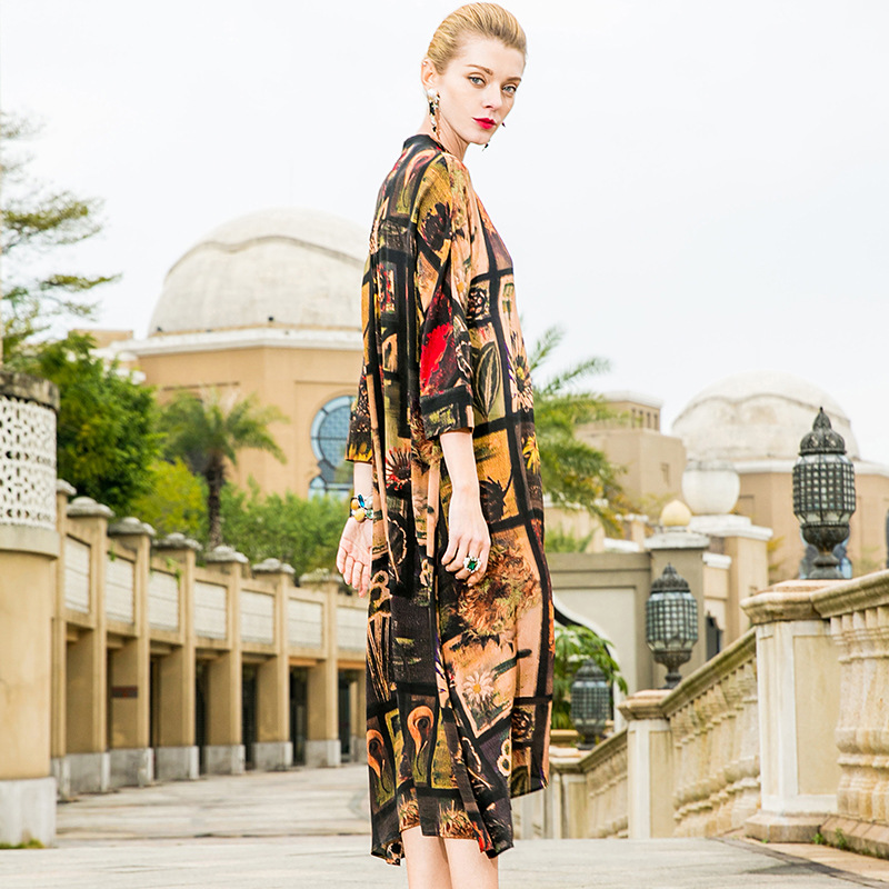 Silk print Chinese style loose plus size dress 2018 new runway women summer dress high quality office lady beach long dress in Dresses from Women 39 s Clothing