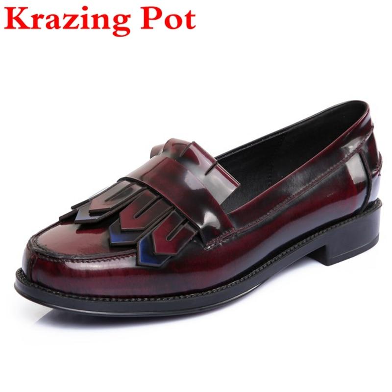 Fashion Big Size Genuine Leather Tassel Thick Heel Women Pumps Round Toe Loafer Shallow Preppy Style Women Causal Brand Shoe L58 цена в Москве и Питере