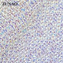 JUNAO 24 40mm Crystal AB Rhinestones Mesh Trim Bridal Beads Hotfix Strass  Roll Applique Crystal 25dc1d00662a