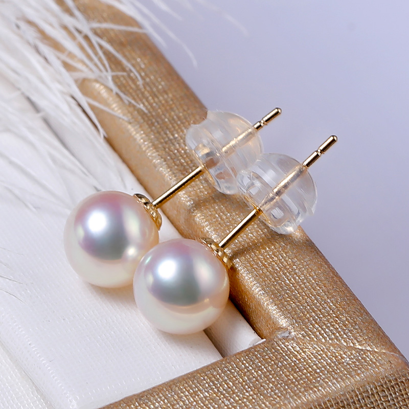 YS Pure 18k Gold 6 11 mm White Round Lustrous Freshwater Pearl Stud Earrings Fine Jewelry in Earrings from Jewelry Accessories