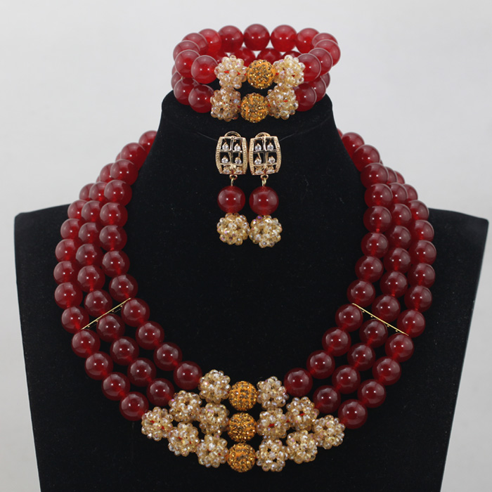 3 Layers African Wedding Costume Stone Jewelry Sets 2017 Latest Nigerian Beads Bridal Neklace Jewelry Sets Free ShippingABH019