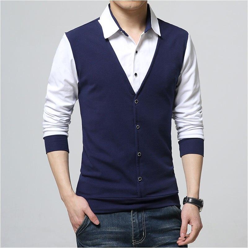33ccb0f2013 ARCSINX otoño Polo camisa hombres manga larga primavera falso dos diseñador algodón  hombres Polo camisas 5XL talla grande marca Tee camisa de los hombres