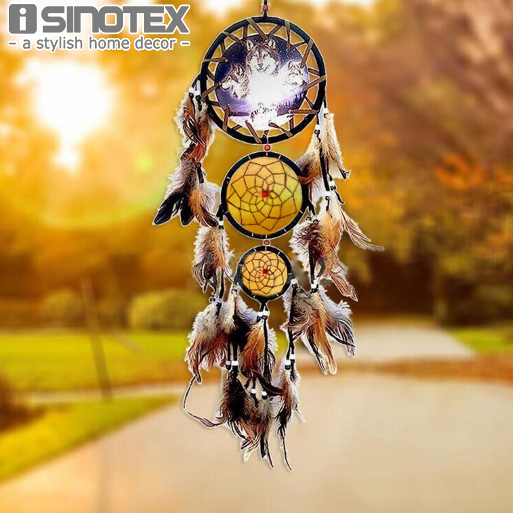 Wolf Totem Indian Dream Catcher Handmade Wall Hanging Pendant 3 ...