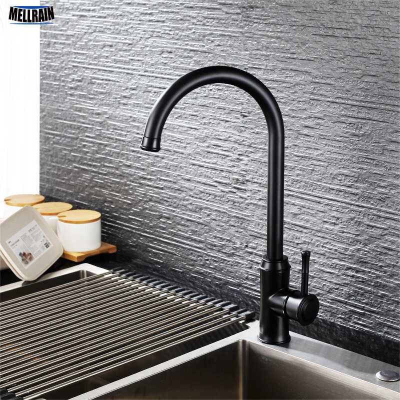 Mat Black Deck Mounted Kitchen Water Tap Quality Mixer Faucet Single Hole Rotatable New Design Sink
