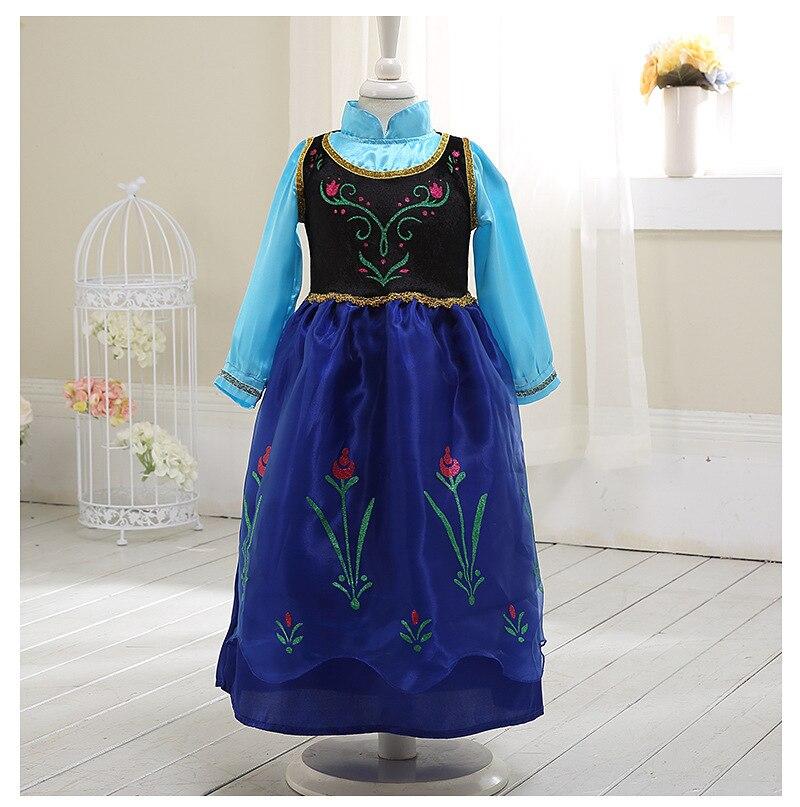Girls Dress Cartoon Cosplay Snow Queen Princess Dresses Elsa Anna Dress Costume Toddler Girl Dresses Children Clothing 3