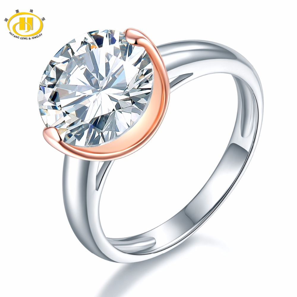 Hutang Round 10 mm Similar Diamond Solid 925 Sterling Silver Wedding Ring Womens Gift Fine Jewelry Christmas presents for 2018