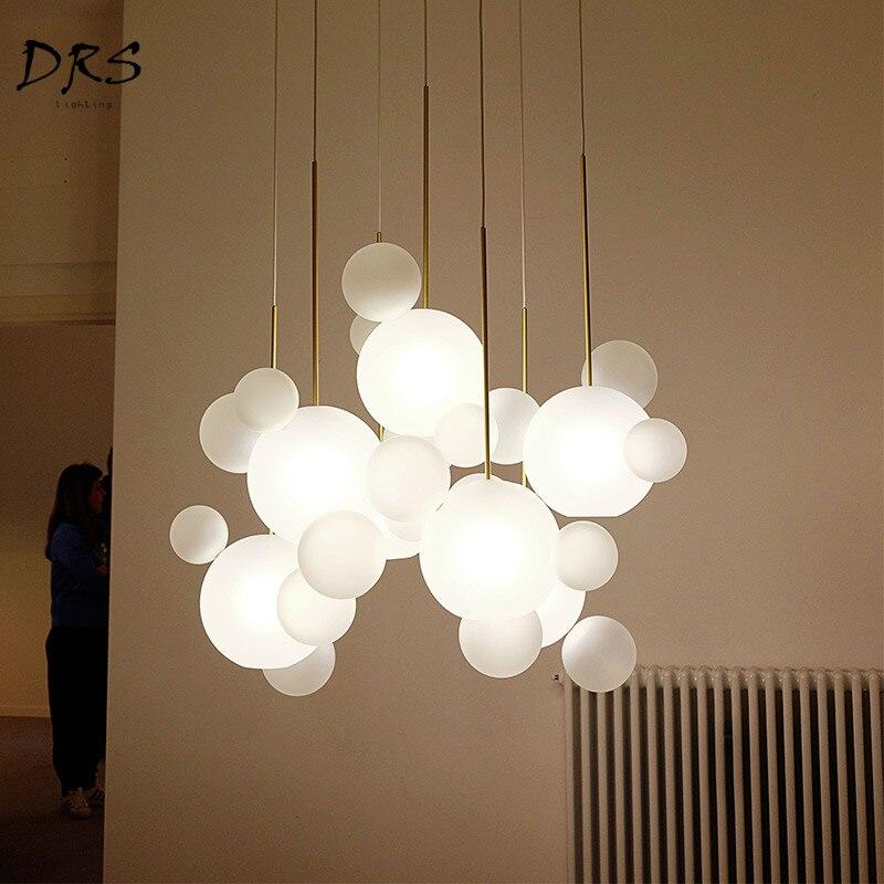 Designer Chandelier Creative Soap Bubble Hanglamp Living Room Restaurant Lustres Flesh Modern Luminaria Glass Lighting Fixture