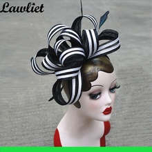 Fascinator Hats Fancy Feather Veil Women Sinamay Hat for Kentucky Derby Wedding Party Cocktail Headband Mom's Gift