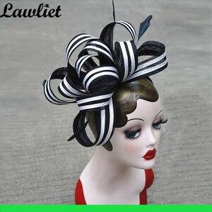 Image 4 - คอลเลกชันใหม่ Fascinators หมวก Sinamay Feather ตาข่ายหมวกสำหรับ Womens Kentucky Derby งานแต่งงานค็อกเทล Headband 1pcs