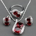New Arrival Sterling Silver Jewelry Set Red Garnet Stud Earrings/Pendant/Necklace Chain/Ring For Women Free Jewelry Box TZ1401