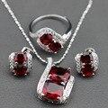 Nova Chegada Conjunto de Jóias Red Garnet Brincos de Prata Esterlina/Pingente/Colar de Corrente/Anel Para Mulheres Livres Caixa de jóias TZ1401