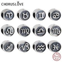 Choruslove Zodiac Sign Charm Genuine 925 Sterling Silver Horoscope Bead fit Pandora Charms Religious Series Bracelet DIY Jewelry
