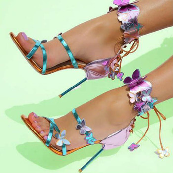 Sandalias Mujer 2020 Mirror Pink Butterfly Sandals Metal thin High Heels Summer Ankle Strap Lace Up Party Wedding Shoes Woman
