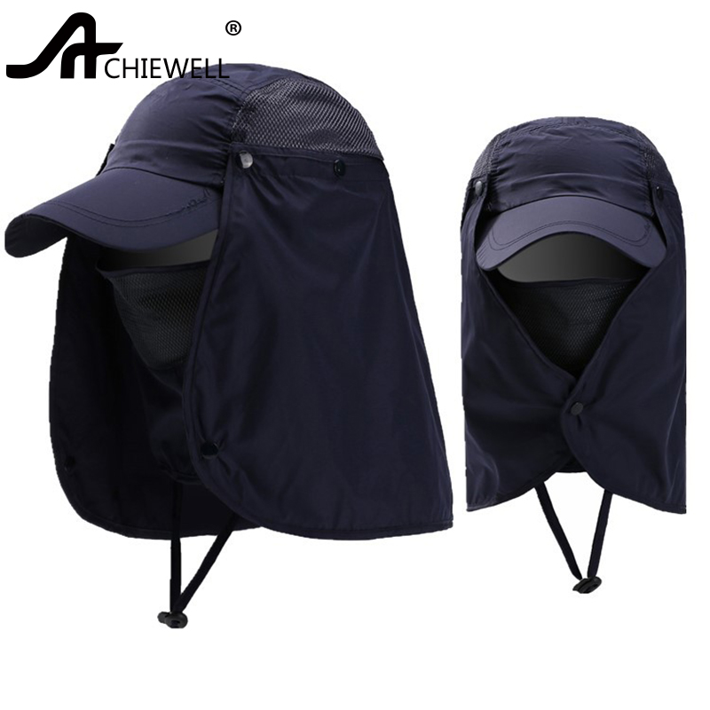 ACHIEWELL Outdoor Hats For Men Women Face UV Protection Sunshade Fisherman Fishing Cap Riding Quick-Drying Cap