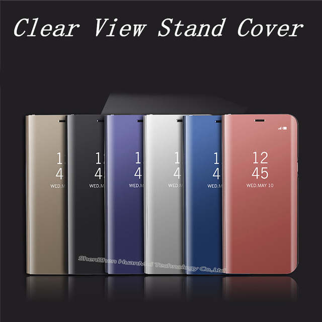 online store 305e6 3ca7d Note8 Mirror Clear View flip Cover For Samsung Galaxy S9 plus Mirror Flip  Case For Samsung S7 Edge S6 edge plus S8 stand case