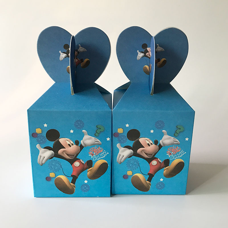 6pcs Mickey Mouse Candy Box Kids Birthday Party Decoration Wedding Favors Paper Gift Boxes Baby Shower Supplies In Bags Wrapping From Home