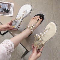 Clear Heels Female Sandal Rhinestone Sandals Fashion Womens Shoes 2019 Open Toe All Match Ladies With Luxury Flat Pearl Comfort