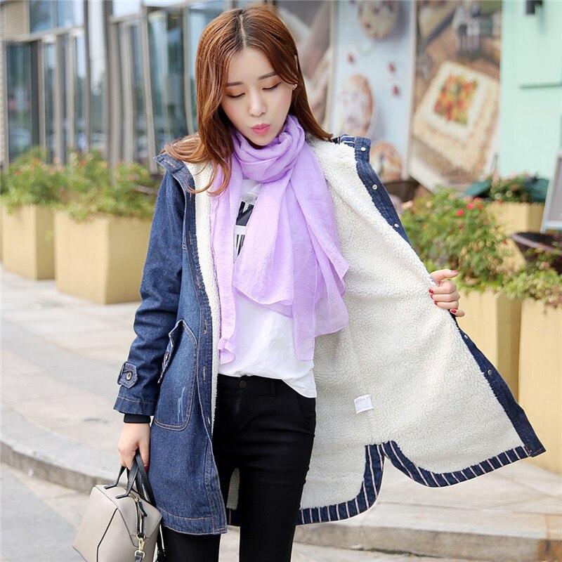 Capuchon Manteau De Femelle Épais Taille Moyen Plus En Femmes Long Dames Coton Blue Denim Vestes Nouvelle À Cachemire La Et Automne Veste Hiver 1xSqRwA