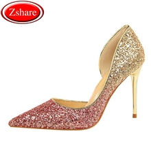 Women Pumps Extrem Sexy High Heels Women Shoes Thin Heels Female Shoes Wedding Shoes Sequins Gradient Color Hollow Ladies Shoes women pumps extrem sexy high heels women shoes thin heels female shoes wedding shoes sequins gradient color hollow ladies shoes