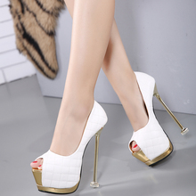 New Ladies Fashion  Shoes 16cm High Heel  Peep toe Thin Heel Black White Women's  Pumps