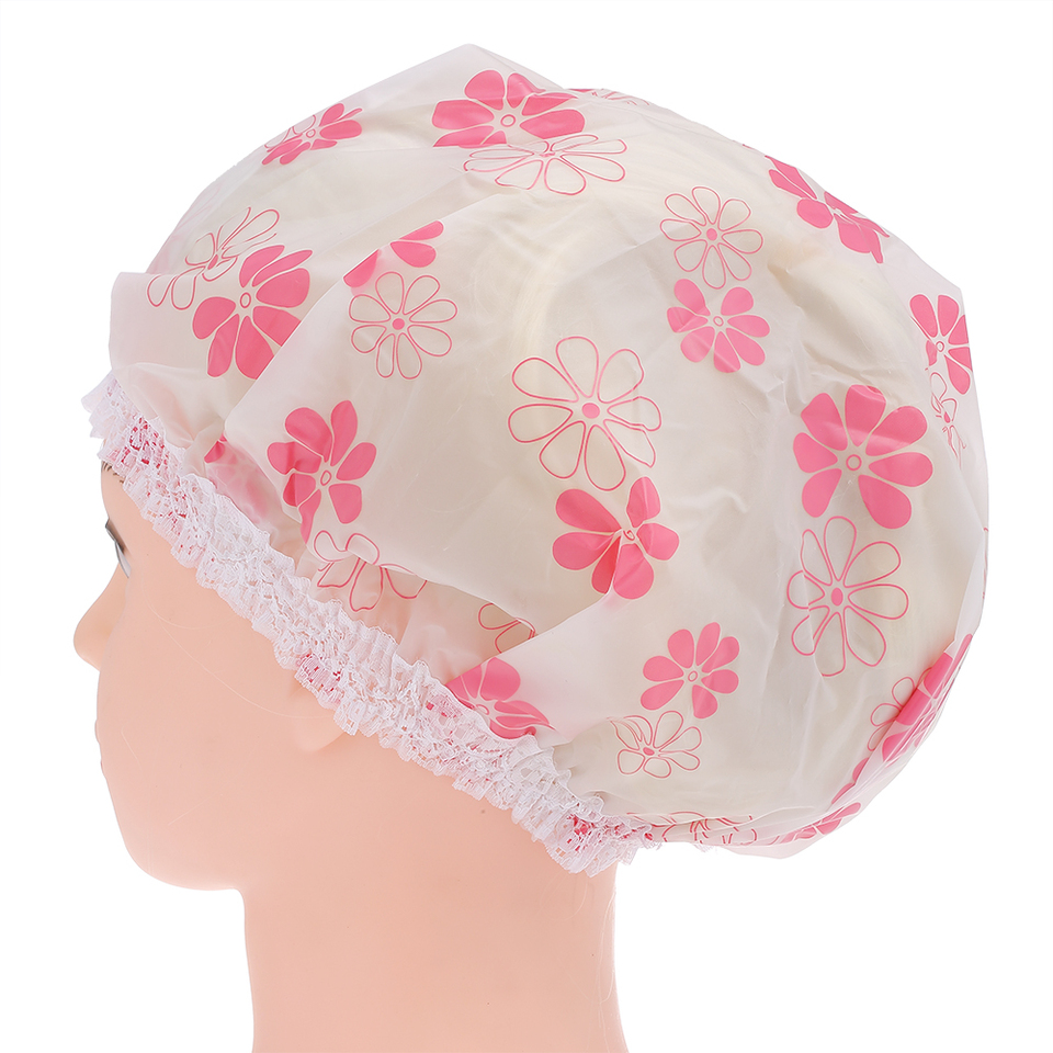 Waterproof Shower Cap Elastic Head Cover Hat Net Colorful Plastic ...