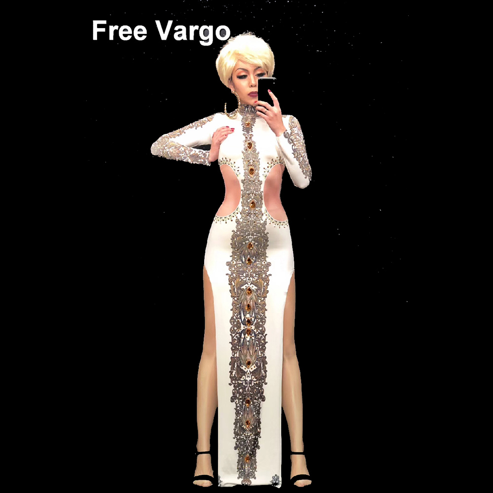 Sexy Drag Queen Costumes Jewelry Party Long Dress Celebrity Runway Outfit Stage Dance Wear Costumes For