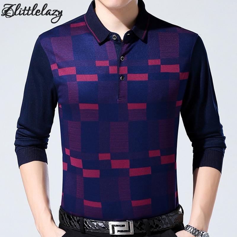 2018 brand fashion slim fitness winter thick long sleeve   polo   shirt men pol plaid casual cotton mens   polos   shirts clothing 334