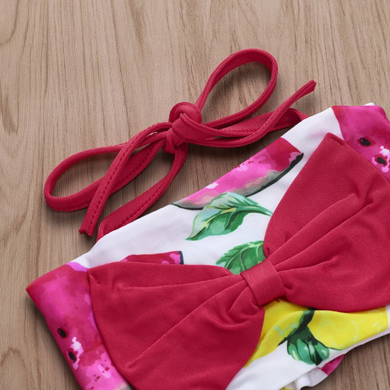 Children Kids Cute Swimsuit Watermelon Green Lemon Printing Girls Sling Split Type Swimsuits Seaside Swimming Pool Clothes Suit in Swimwear from Mother Kids