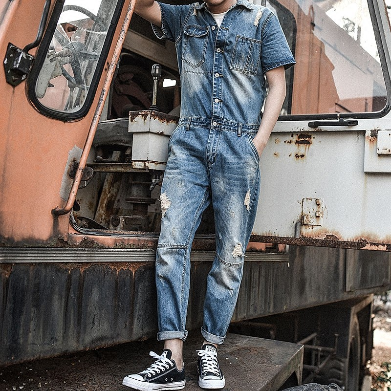 Japan Retro Mens Overalls Short Sleeved One Piece Denim Pants Casual Washed Jeans Jumpsuits Button Classic Hole Ripped Trousers 2016 brand mens denim overalls fashion bib jeans skinny overalls for men hole slim black and white suspender pants m xxl