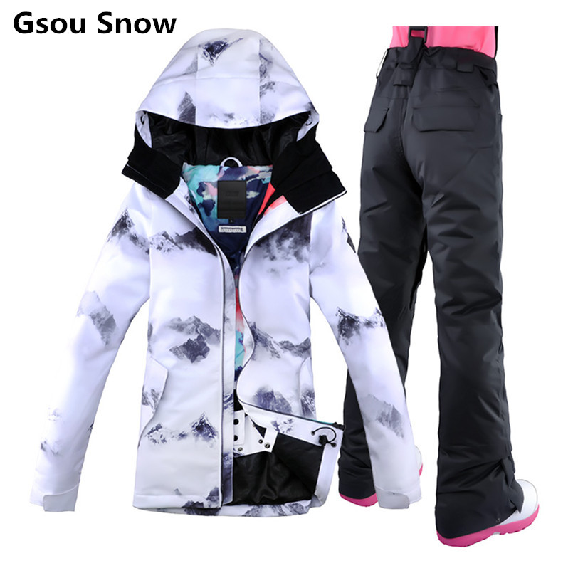 New 2018 Gsou Snow Ski Suit Female Snowboard Suit Snow font b Jacket b font and