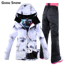 New 2018 Gsou Snow Ski Suit Female Snowboard Suit Snow Jacket and Pants Womans Ski Clothing Skiwear