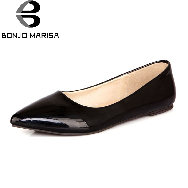 BONJOMARISA High Quality Plus Size 30-49 Fashion Shoes Flats Woman Candy Color Slip On Pointed Toe Flats Comfortable Shoes Women