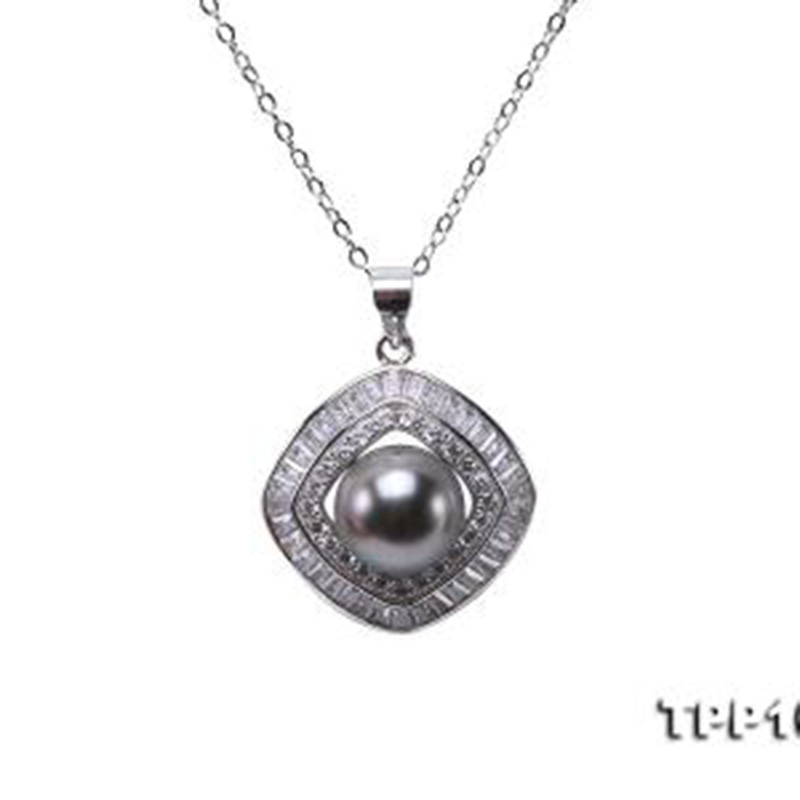 JYX Sterling Silver necklace pearl 10mm Black Tahiti 9.5mm Black Tahitian Pearl South Sea Cultured Pendant 18 inches jyx pearl silver 925 jewelry genuine 12 5mm oval golden south sea cultured pearl 925 pendant necklace in sterling silver 18