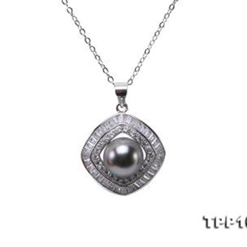 JYX collier argent pur perle 10mm noir Tahiti 9.5mm noir perle de Tahiti mer du sud culture pendentif 18 pouces