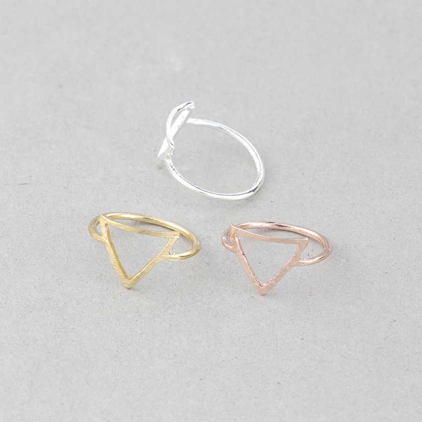 Rose Gold Knuckle แหวนผู้หญิง Minimalism งานแต่งงานเครื่องประดับ 2019 Lucky วงกลมสามเหลี่ยมแหวนของขวัญน้องสาว Bague Femme BFF