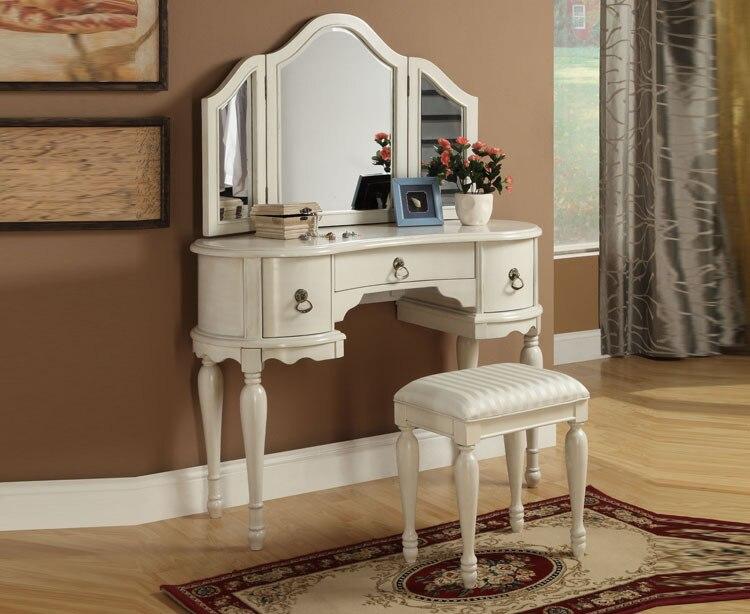 European style bedroom furniture mirror vanity set white dressers for bedroom makeup vanity table white dressers wholesale price