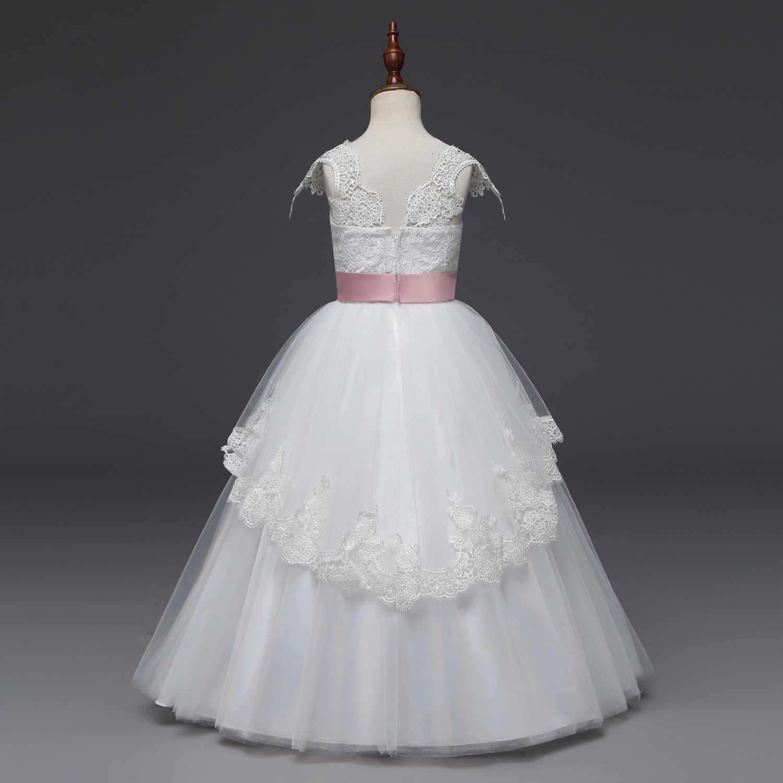 Vestido De Fiesta De Princesa Con Cuello En V Blanco Largo De Belleza De La Muchacha Vestidos De Flores 2019 De Encaje Vestidos De Primera Comunión