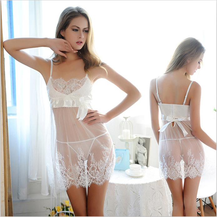 new Superior quality See-through dress lace Sexy for woman nightgown female Nightdress