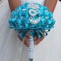 새로운 도착 사파이어 블루 브로치 꽃다발 실크 신부 신부의 웨딩 꽃다발 신부 들러리 로얄 블루 천 장미 사용자 정의 다이